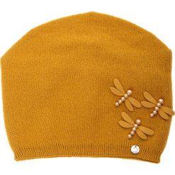 Musztardowa czapka z akrylowymi ważkami QUIOSQUE. Czarne czapki i kapelusze damskie QUIOSQUE, z dzianiny. Za 79.99 zł.