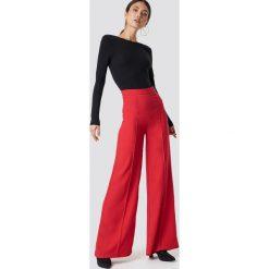 Trendyol Szerokie spodnie z wysoką talią - Red. Czerwone spodnie materiałowe damskie Trendyol, z poliesteru. Za 121.95 zł.