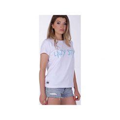 Lazy Star White T-shirt. Białe t-shirty damskie Kingsize, z nadrukiem, z zamszu. Za 69.00 zł.