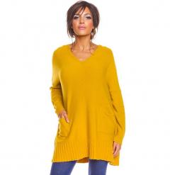 """Sweter """"Lolita"""" w kolorze musztardowym. Żółte swetry damskie So Cachemire, z kaszmiru. W wyprzedaży za 186.95 zł."""
