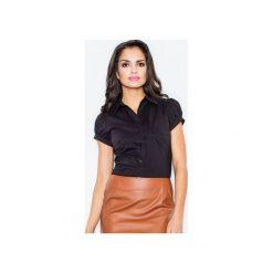 Koszula M026 Czarny. Czarne koszule damskie Figl, z bawełny, klasyczne, z klasycznym kołnierzykiem, z krótkim rękawem. Za 73.00 zł.