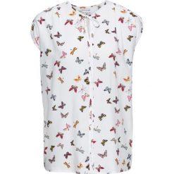 Bluzka, krótki rękaw bonprix biały z nadrukiem. Białe bluzki damskie bonprix, z nadrukiem, z krótkim rękawem. Za 79.99 zł.