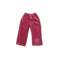 Spodnie dziewczęce welurowe zgaszony róż z serduszkiem rozmiar 92. Czerwone spodnie materiałowe dla dziewczynek GAMET, z aplikacjami, z bawełny. Za 22.00 zł.