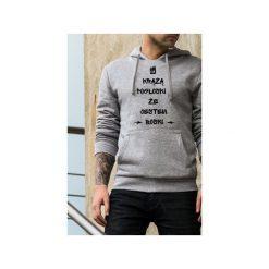 Boski męska szara bluza z kapturem. Szare bluzy męskie One mug a day, z bawełny. Za 179.00 zł.