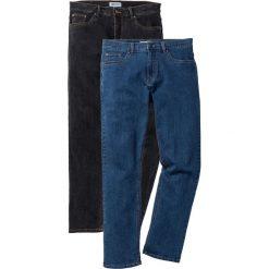 Dżinsy ze stretchem Regular Fit Straight (2 pary) bonprix niebieski + czarny. Jeansy męskie marki bonprix. Za 179.98 zł.