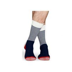 Skarpetki Happy Socks - Half Stripe (SH01-068). Szare skarpety męskie Happy Socks, w kolorowe wzory, z bawełny. Za 34.90 zł.