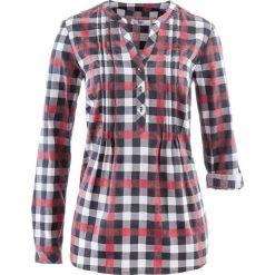 Tunika bluzkowa, długi rękaw bonprix bordowy w kratę. Czerwone tuniki damskie bonprix, z długim rękawem. Za 74.99 zł.