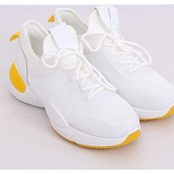 Buty sportowe z siateczką białe B0 547 Yellow