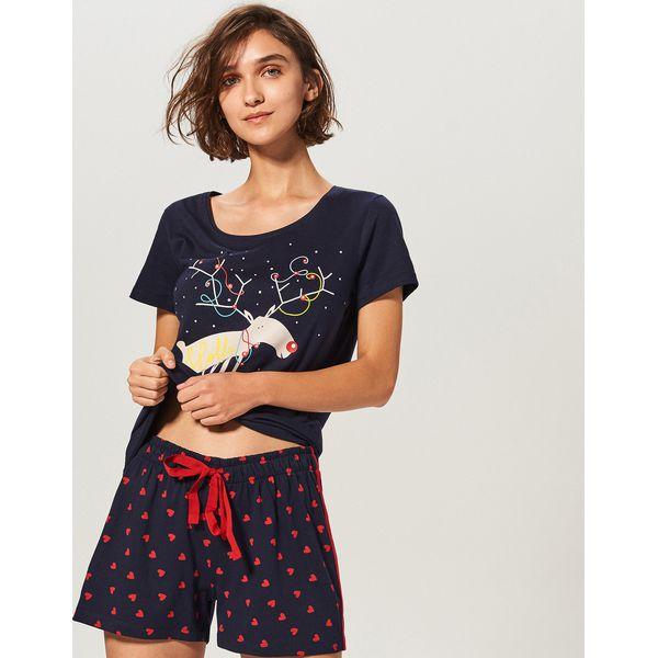 aa3c914133c63f Dwuczęściowa piżama - Granatowy - Piżamy damskie marki Reserved. W ...