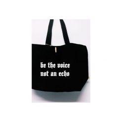 """Torba """"Be the voice, not an echo"""". Czarne torebki shopper damskie Funfara, z napisami, z bawełny. Za 99.00 zł."""