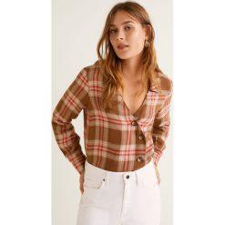 Mango - Koszula Camila. Szare koszule damskie Mango, w kratkę, ze lnu, z długim rękawem. Za 139.90 zł.