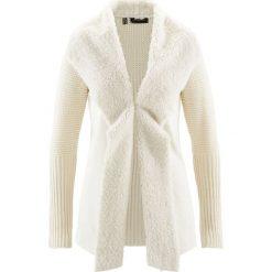 Sweter rozpinany ze sztucznym futerkiem bonprix kremowy. Brązowe kardigany damskie bonprix, z haftami. Za 109.99 zł.