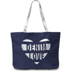 Torba shopper z kanwy bonprix ciemnoniebiesko-srebrny kolor. Niebieskie torebki shopper damskie bonprix. Za 37.99 zł.