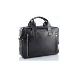 Czarna skórzana torba na ramię brodrene b02, Kolor wnętrza: Czarny. Czarne torby na laptopa męskie Brødrene, w paski, ze skóry. Za 169.00 zł.