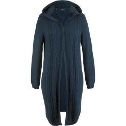 Długi sweter rozpinany z kapturem bonprix ciemnoniebieski. Niebieskie kardigany damskie bonprix. Za 89.99 zł.