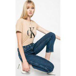 Calvin Klein Jeans - Top. Szare topy damskie Calvin Klein Jeans, z jeansu, z krótkim rękawem. W wyprzedaży za 159.90 zł.