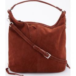 Skórzana torebka z regulowaną głębokością - Brązowy. Brązowe torebki do ręki damskie Reserved. Za 399.99 zł.