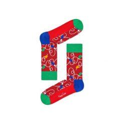 Skarpetki Happy Socks - Holiday XMAS (HLI01-4000). Różowe skarpety męskie Happy Socks, w kolorowe wzory, z bawełny. Za 34.90 zł.