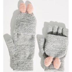 Rękawiczki bez palców z króliczymi uszami - Jasny szar. Szare rękawiczki damskie Sinsay. Za 19.99 zł.