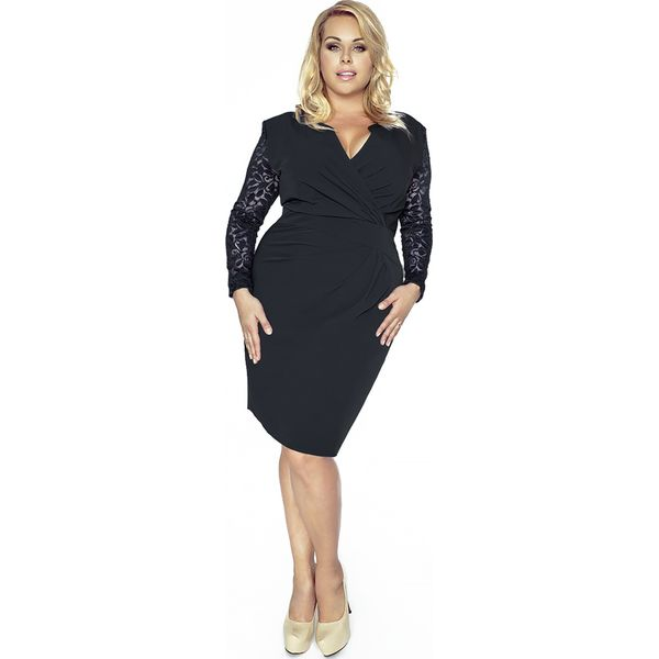 Bardzo dobryFantastyczny Czarna Koronkowa Sukienka Kopertowy Dekolt Plus Size - Sukienki CJ93