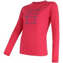 Sensor Koszulka Merino Wool Arrows Magenta L. Czerwone koszulki sportowe damskie Sensor, ze skóry, z długim rękawem. Za 215.00 zł.