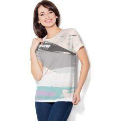 Colour Pleasure Koszulka CP-030 26 biało-miętowo-szara r. XXXL/XXXXL. T-shirty damskie Colour Pleasure. Za 70.35 zł.
