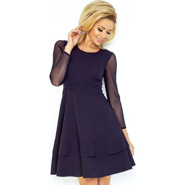 1d2e4d75 Granatowa Sukienka Wizytowa Rozkloszowana z Transparentnymi Rękawami