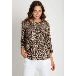 Panterkowa bluzka z rękawem 3/4 BIALCON. Czarne bluzki damskie BIALCON, z motywem zwierzęcym, z jeansu, wizytowe. W wyprzedaży za 122.00 zł.