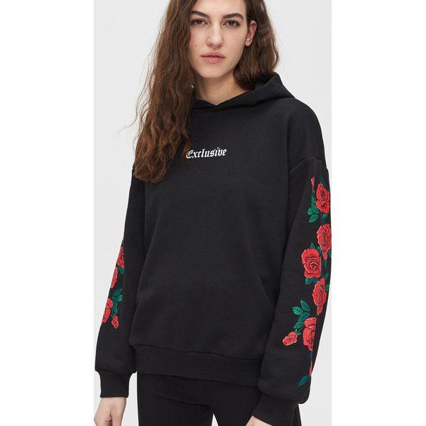Bluza z motywem róży Cropp Bluzy męskie czarne w Cropp