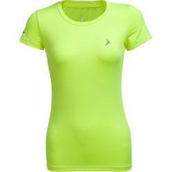 Koszulka treningowa damska TSDF600 - żółty neon - Outhorn. Żółte bluzki damskie Outhorn, z materiału. W wyprzedaży za 29.99 zł.
