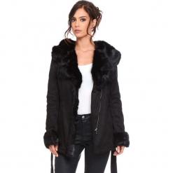 """Płaszcz """"Sonia"""" w kolorze czarnym. Czarne płaszcze damskie Cosy Winter, na zimę, w paski, z tkaniny. W wyprzedaży za 363.95 zł."""