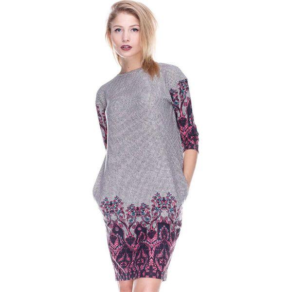 b892ac59a6 Sukienka w kolorze szaro-fioletowym ze wzorem - Sukienki damskie ...