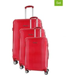 Zestaw walizek w kolorze czerwonym - 3 szt. Walizki męskie Platinium, z materiału. W wyprzedaży za 689.95 zł.