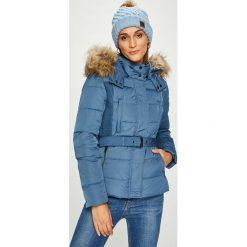 Pepe Jeans - Kurtka puchowa Olivia. Szare kurtki damskie Pepe Jeans, w paski, z jeansu. W wyprzedaży za 599.90 zł.