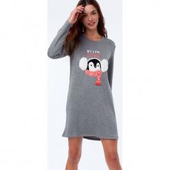 Etam - Koszula nocna Nastasia. Szare koszule nocne damskie Etam, z nadrukiem, z dzianiny. Za 149.90 zł.