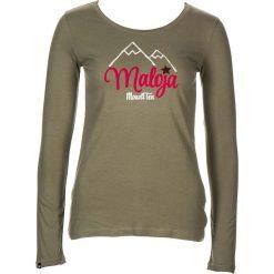 """Koszulka """"FuntannaM."""" w kolorze khaki. Brązowe bluzki damskie Maloja, z aplikacjami, z bawełny, z okrągłym kołnierzem, z długim rękawem. W wyprzedaży za 77.95 zł."""