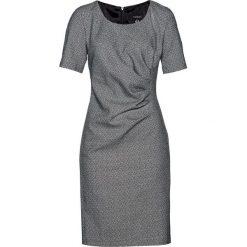 Sukienka bonprix czarno-jasnoszary melanż. Czarne sukienki damskie bonprix, melanż, z żakardem, klasyczne, z klasycznym kołnierzykiem, z krótkim rękawem. Za 129.99 zł.