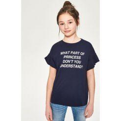 T-shirt z falbanką przy rękawie - Granatowy. T-shirty damskie marki bonprix. W wyprzedaży za 9.99 zł.