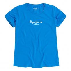 T-shirt w kolorze niebieskim. Niebieskie t-shirty damskie Pepe Jeans, z aplikacjami, z okrągłym kołnierzem. W wyprzedaży za 67.95 zł.
