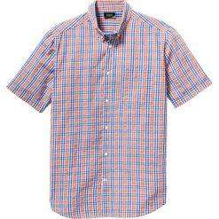 Koszula z kory z krótkim rękawem Regular Fit bonprix pomarańczowo-niebieski w kratę. Koszule męskie marki Giacomo Conti. Za 59.99 zł.