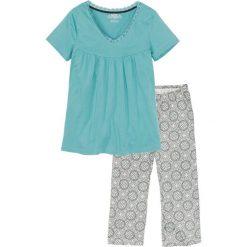 Piżama ze spodniami 3/4 bonprix szary z nadrukiem. Piżamy damskie marki MAKE ME BIO. Za 59.99 zł.