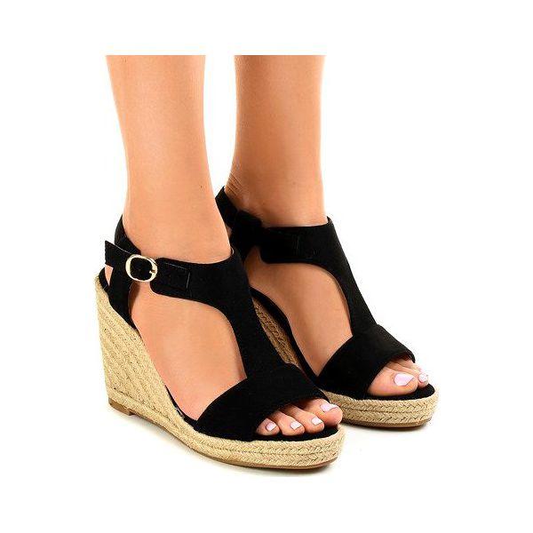 Czarne sandały na koturnie espadryle KA 20   Sandały damskie