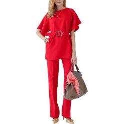 Zestaw w kolorze czerwonym - bluzka, spodnie. Spodnie materiałowe damskie Andrea Crocetta. W wyprzedaży za 319.95 zł.