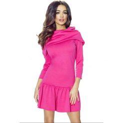 Sukienka z falbanką  b-012-02. Różowe sukienki dla dziewczynek Berg, z krótkim rękawem. Za 159.90 zł.