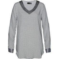 Bluzka bonprix biało-czarno-srebrny metaliczny z nadrukiem. Białe bluzki damskie bonprix, z nadrukiem, z dekoltem w serek. Za 99.99 zł.