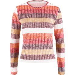 Sweter w prążek, w paski bonprix biel wełny - cynamonowy w paski. Swetry damskie marki KALENJI. Za 59.99 zł.