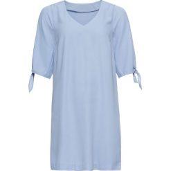 Sukienka bonprix perłowy niebieski. Niebieskie sukienki damskie bonprix, na lato, z dekoltem w serek. Za 99.99 zł.
