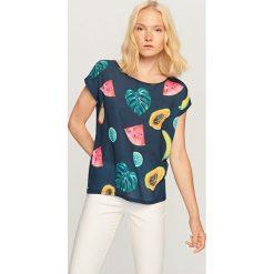 Koszulka we wzory - Granatowy. Niebieskie t-shirty damskie Reserved. Za 39.99 zł.