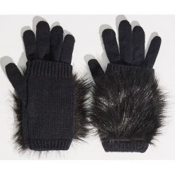 Rękawiczki z futrem syntetycznym - Czarny. Rękawiczki damskie marki B'TWIN. W wyprzedaży za 14.99 zł.