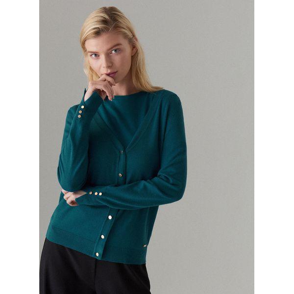 458c0703 Dopasowany sweter z zapięciem na guziki - Turkusowy